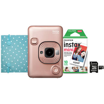 FUJIFILM INSTAX Mini LiPlay Hybrid Instant Camera Bundle (Blush Gold)