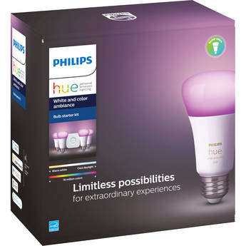 Philips Hue A19 Starter Kit with Bluetooth (White & Color Ambiance, 4-Pack)