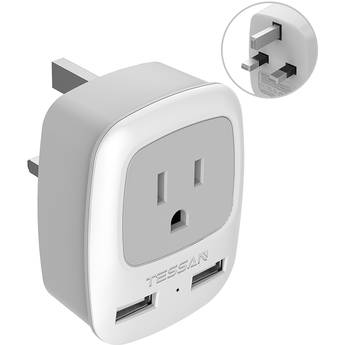 Tessan Type-G Travel Adapter with US Outlet and USB Type-A Ports (Gray)