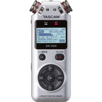 Tascam DR-05X 2-Input / 2-Track Portable Audio Recorder with Onboard Stereo Microphone (Silver)