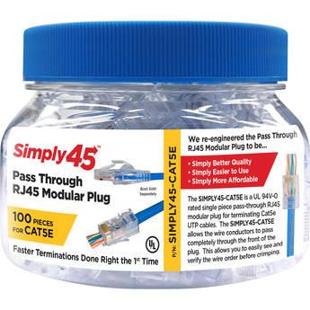 Simply45 Cat 5e UTP Unshielded RJ45 Pass-Through Modular Plug (100-Piece Jar)