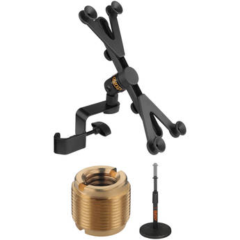 Auray IPU-108 Universal Tablet Stand Adapter Kit with Telescoping Tabletop Mic Stand and Thread Adapter