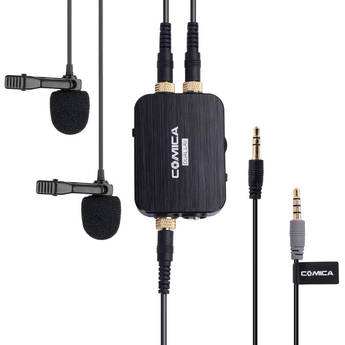 Comica Audio DUAL.LAV D03 Dual Omnidirectional Lavalier Microphones with Monitoring for DSLR Cameras and Smartphones