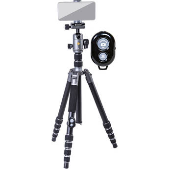 Vanguard VEO 3 GO 265HAB Aluminum Tripod/Monopod with BH-120 Ball Head, Smartphone Connector, and Bluetooth Remote