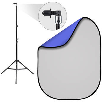 Fovitec 5 x 6.5' Double-Sided Pop-Up Background & Stand Kit (Chroma Blue/Solid Gray)