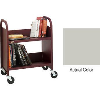 """Bretford Booktruck 2-Slant Shelves/ 4"""" Casters - Grey Mist"""