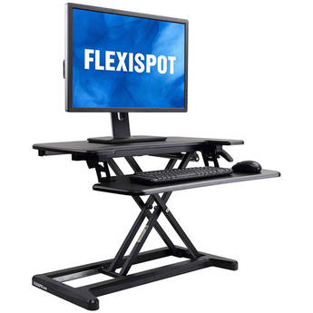 "Loctek 28.4"" Flexispot Alcove Sit-Stand Desk Riser with Keyboard Tray (Black)"