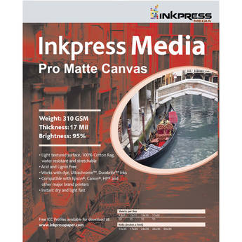 "Inkpress Media Pro Matte Canvas (44"" x 35', Roll)"