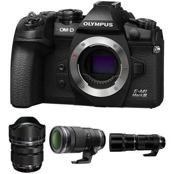 Olympus OM-D E-M1 Mark III Mirrorless Digital Camera with M.Zuiko 7-14mm, 40-150mm, and 300mm PRO Lenses Kit