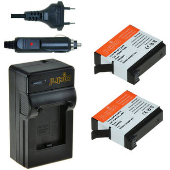 Jupio 2 x Lithium-Ion Battery Packs for GoPro HERO4 & Compact Single Charger