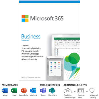 Microsoft 365 Business Standard (1 PC or Mac License / 12-Month Subscription / Product Key Code)
