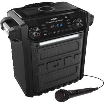 ION Audio Pathfinder Charger Water-Resistant Rechargeable Speaker System with Qi Wireless Charging