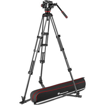 Manfrotto 504X Fluid Video Head & MVTTWINGC Carbon Fiber Tripod with Ground Spreader