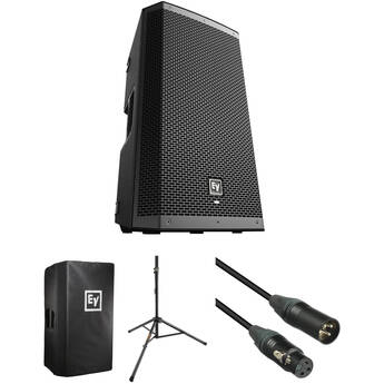 """Electro-Voice ZLX-12BT 12"""" 2-Way 1000W Powered Loudspeaker Kit with Stand, Cover, and Cable"""