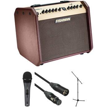 Fishman Loudbox Mini Bluetooth Amplifier Kit with Sennheiser e825S Mic, XLR Cable & Stand