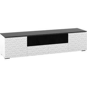Salamander Designs Milan 245 Quad-Width A/V Cabinet With Center Speaker Opening- White / Black Glass
