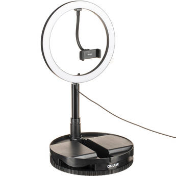 """On Air Halo Travel Pro 10"""" LED Ring Light with Foldable Stand and Phone Mount"""