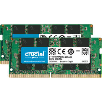 Crucial 32GB Laptop DDR4 2666 MHz SODIMM Memory Kit (2 x 16GB)