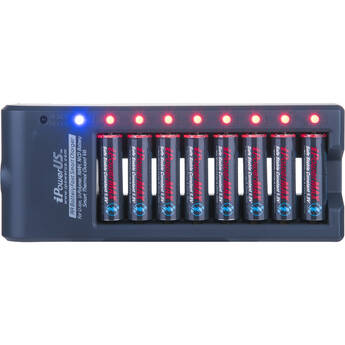 iPower 8-Bay AA Battery Fast Smart Charger for LiPo, Li-Ion, NiMH, and NiCD Cells