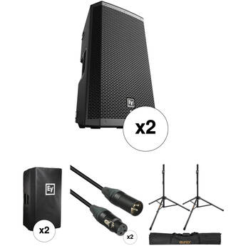 """Electro-Voice ZLX-12BT 12"""" 2-Way 1000W Powered Loudspeaker Kit with Two Speakers, Stands, Covers, and Cables"""