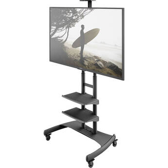 "Kanto Living Mobile TV Cart with Two Adjustable Shelves for 50 to 82"" Displays"