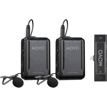 Movo Photo EDGE-DI-DUO 2-Person Digital Wireless Omni Lavalier Microphone System for iPhones (2.4 GHz)