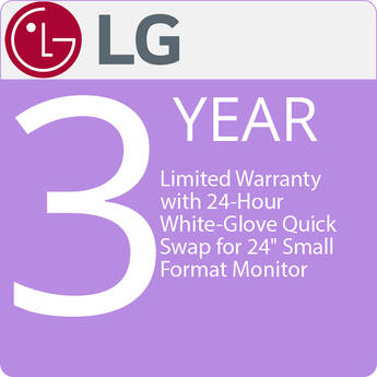 "LG 3-Year Factory Limited Warranty with 24-Hour White-Glove Quick Swap for 24"" Small Format Monitor"