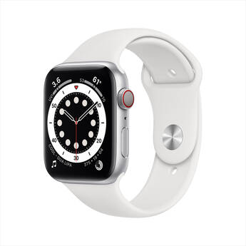 Apple Watch Series 6 (GPS + Cellular, 44mm, Silver Stainless Steel, White Sport Band)
