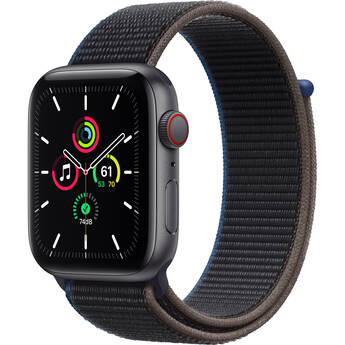 Apple Watch SE (GPS + Cellular, 44mm, Space Gray Aluminum, Charcoal Sport Loop Band)