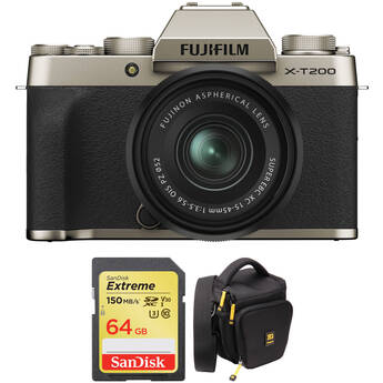 FUJIFILM X-T200 Mirrorless Digital Camera with 15-45mm Lens and Accessories Kit (Champagne Gold)