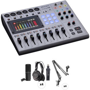 Zoom PodTrak P8 Podcast Kit with Dynamic Microphones, Headphones, Cables, and Suspension Crane Arms (4-Person)