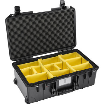 Pelican 1535AirWD Wheeled Carry-On Hard Case with Padded Divider Insert (Black)