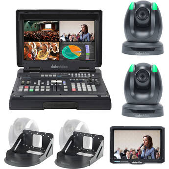 Datavideo Streaming Studio Kit with Switcher, 2 x PTZ Cameras, Wall Mounts & Monitor