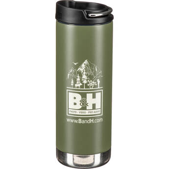 Klean Kanteen TKWide Insulated Bottle with Cafe Cap (16 oz, Fresh Pine Green with B&H Logo)