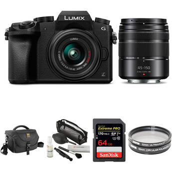 Panasonic Lumix DMC-G7 Mirrorless Digital Camera with 14-42mm and 45-150mm Lenses and Accessories Kit (Black)