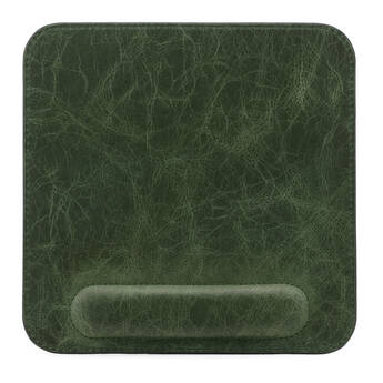 Londo Genuine Leather Mousepad with Wrist Rest (Green)