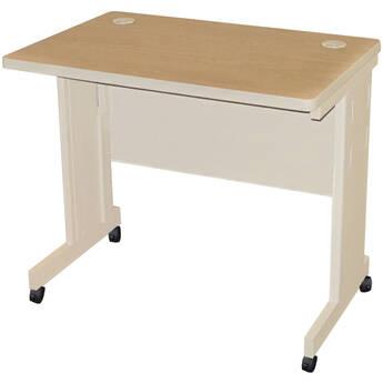"Marvel Pronto Mobile Training Table with Modesty Panel Back (36 x 24"", Oak Laminate/Putty)"