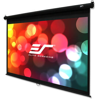 """Elite Screens Manual B/ 110""""/ 16:9 Pull Down Manual Projector Screen With Auto Lock, Movie Home Theater"""