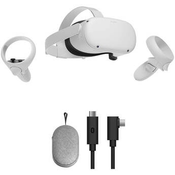 Oculus Quest 2 Advanced All-in-One VR Headset with Carrying Case & Link Cable Kit (256GB)