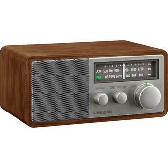 Sangean SG-116 AM/FM Analog Tabletop Radio (Walnut/Silver)