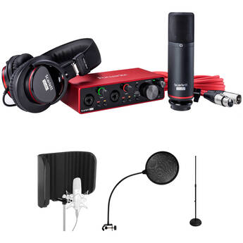 Focusrite Scarlett Vocal Recording Kit with 2i2 Audio Interface, Mic, Headphones, Pop Filter, and Reflection Filter