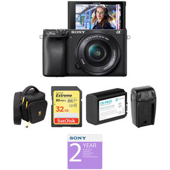 Sony Alpha a6400 Mirrorless Digital Camera with 16-50mm Lens Deluxe Kit