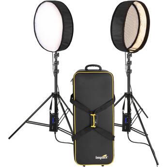Genaray PortaSun Round Flexible Bi-Color LED 2-Light Kit with Stands and Roller Bag