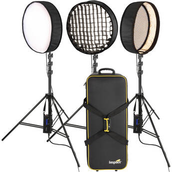 Genaray PortaSun Round Flexible Bi-Color LED 3-Light Kit with Stands and Roller Bag