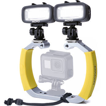 Movo Photo Underwater Diving Rig Bundle with 2 Rechargeable LED Lights for GoPro