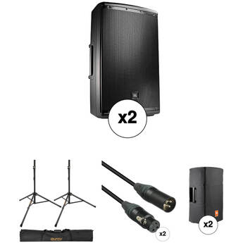 JBL Dual EON615 Powered Speaker Pro Kit with Stands, Covers, Bag, and Cables