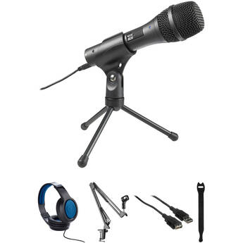 Audio-Technica AT2005USB Cardioid Dynamic USB/XLR Microphone Kit with Broadcast Arm and Heaphones