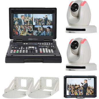 Datavideo Streaming Studio Kit with Switcher, 2 x PTZ Cameras, Wall Mounts & Monitor (White)
