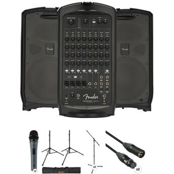 Fender Passport Venue Series 2 Portable Powered PA Kit with Microphones, Stands, Bag, and Cables
