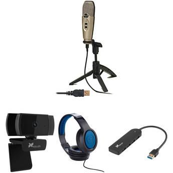 CAD U37 USB Studio Condenser Kit with aoni A20 Webcam, Headphones, and USB Hub